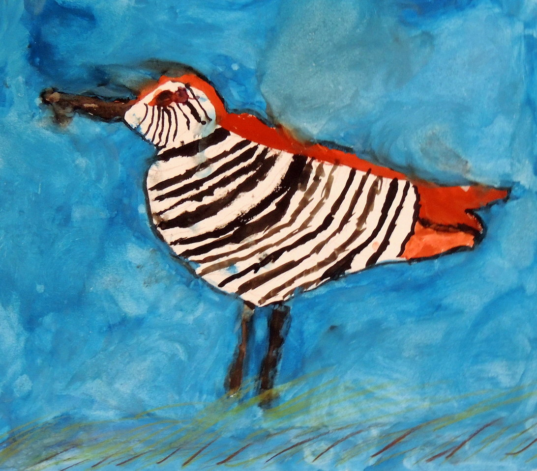 Grade 6 student Charlie H.'s pink eared duck painting