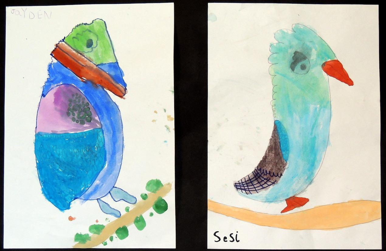 Drawings of colourful kookaburras